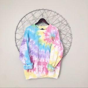 NEW rainbow side swirl tie dye crewneck